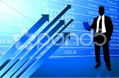 Business man on background with stock market data Stock Illustration