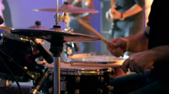 Drummer playing of drums during a concert on special event Stock Footage