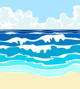 Ocean with waves Stock Illustration