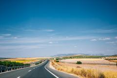 Beautiful asphalt freeway, motorway, highway in Andalusia, Spain Stock Photos