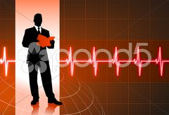Business people on pulse background Stock Illustration