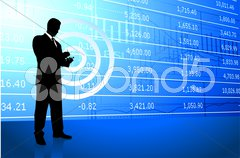 Business man on background with stock market data - stock photo