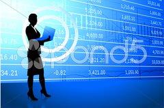 Businesswoman holding laptop on stock market background Stock Illustration