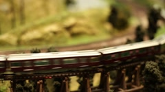 Miniature Model Scale Railway, Train with wagons is driving, blurred motion-Dan Stock Footage