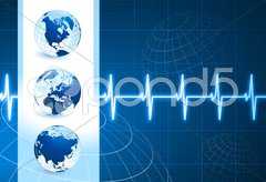 Globes on blue internet background with pulse rate Stock Illustration