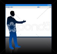 Businessman on background with web browser blank page - stock illustration