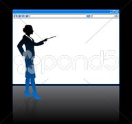 Business woman on background with web browser blank page Stock Illustration
