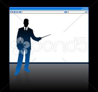 Businessman on background with web browser blank page Stock Illustration
