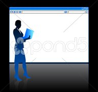 Businesswoman on background with web browser blank page - stock illustration