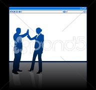 Business people on background with web browser blank page - stock illustration