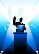 Business/political speaker silhouette behind a podium - stock photo