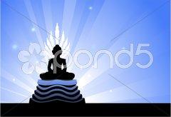 Buddha statue on blue glowing background Stock Illustration
