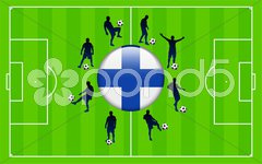 Finland Flag Icon Internet Button with Soccer Match Stock Illustration