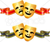 Comedy and tragedy theater masks Stock Illustration