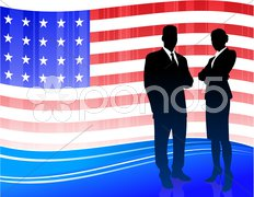 Business team on Patriotic American Flag background Stock Illustration