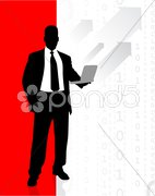 Business man accessing internet on laptop Stock Illustration