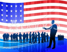 Businessman on Patriotic American Flag background Stock Illustration