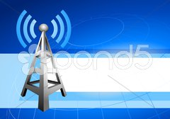 Internet tower with radio waves background icon - stock illustration