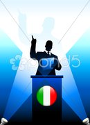 Italy Leader Giving Speech on Stage Stock Illustration
