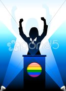 Gay Leader Giving Speech on Stage Stock Illustration