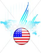 United States of America Flag Button with World Map - stock photo