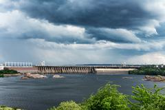 View of the Hydro power station on the island  Khortytsya Zaporozhye region Stock Photos