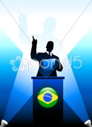 Brazil Leader Giving Speech on Stage Stock Illustration