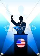 United States Leader Giving Speech on Stage Stock Illustration