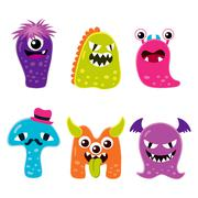 Cute Monster Mascot Characters Stock Illustration