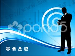 Wireless internet background with modern businessman Stock Illustration