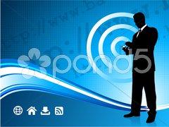 Wireless internet background with modern businessman Stock Illustration