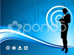Wireless internet background with modern businesswoman Stock Illustration