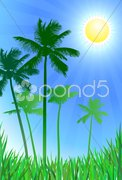 Palm trees green background Stock Illustration