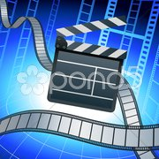 Film strip and clapper board on blue background Stock Illustration