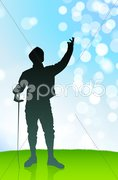 Fencer on Lens Flare Summer Background Stock Illustration