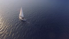 Boat sailing in Mediterranean Sea Aerial Stock Footage