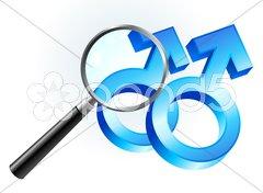 Gay Male Gender Symbols Under Magnifying Glass Stock Illustration