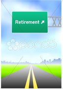 Retirement Highway Sign Stock Illustration