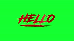 4 Animated Green Screen Text HELLO Stock Footage