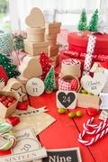 Advent calendar with gift boxes Stock Photos