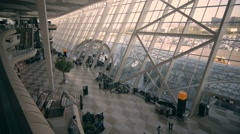 Airport terminal o Railway station, a lot of people before fly Stock Footage