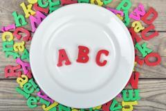 ABC on plate Stock Photos
