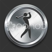 Golf Icon on Metal Internet Button Stock Illustration