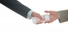 Exchange rubles for dollars. two businessmen exchanging banknotes. cash Stock Footage