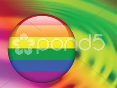 Gay Flag Button on Abstract Liquid Wave Background Stock Illustration