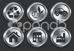 Environmental Icons on Metal Internet Button Stock Illustration