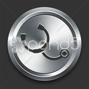 Stethoscope Icon on Metal Internet Button Stock Illustration
