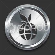 Globe Icon on Metal Internet Button - stock photo