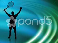 Tennis Player on Abstract Liquid Wave Background Stock Illustration