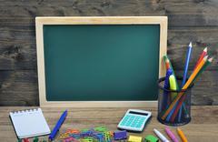 School board on wooden table Stock Photos